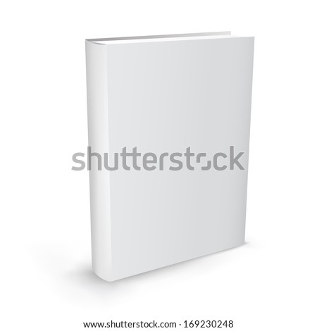 The white realistic book isolated on the white background - stock photo