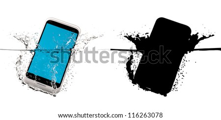 The white smartphone fallen in water. 3D-model. Black mask. - stock photo