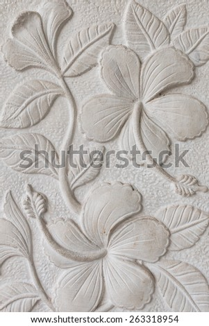 The White stucco wall flower for texture background - stock photo