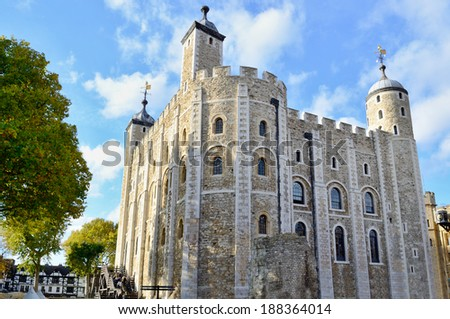 The White Tower of the historic Tower of London, England