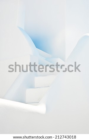 The whitewashed staircase at Oia, Santorini, Greece - stock photo