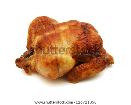The whole fried chicken on a white background - stock photo