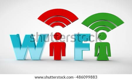 The Wi Fi icon is blue, with a silhouette of the men in red and women in green, on a white background, 3D rendering