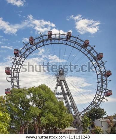 The Wiener Riesenrad or Viennese giant wheel - stock photo