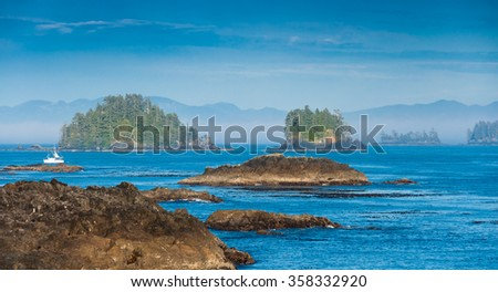 The Wild Pacific Trail located in the District of Ucluelet with the rugged cliffs and shoreline of the westcoast of Vancouver Island, Canada. - stock photo
