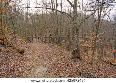 The Wilderness Road Heading Down from the Cumberland Gap in Cumberland Gap National Park in Kentucky - stock photo