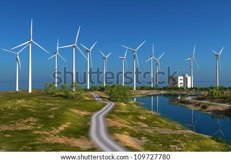 The wind generators  on the sky. - stock photo