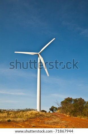 The wind power generator on top of the mountain in Thailand.