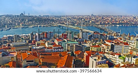 The winding Golden Horn Bay and its bridges - Metro and Ataturk look great from the top of Galata Tower, Istanbul, Turkey. - stock photo
