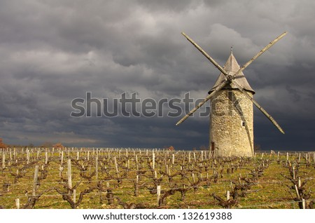 The windmill of Courrian is situated in the Gironde department in Aquitaine in southwestern France - stock photo