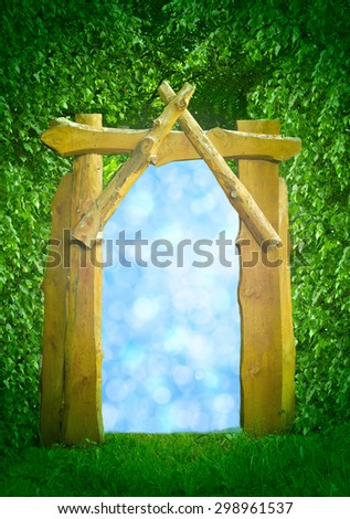 The window from the forest in a fairy tale