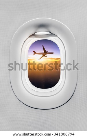 the window of airplane - stock photo