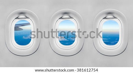 The window of airplane - stock photo