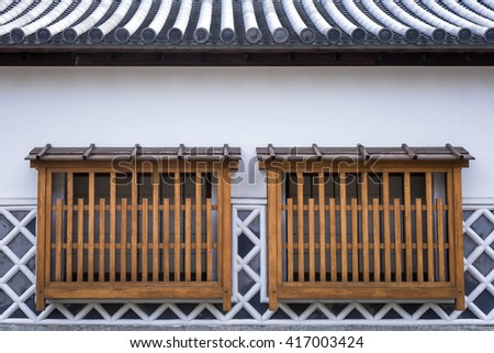 The window of ancient japanese building - stock photo