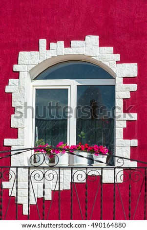 the window of the House in a colored exterior