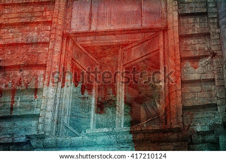 The window of the old creepy abandoned scary house in the blood. Here it is murder and is haunted (double exposure) - stock photo