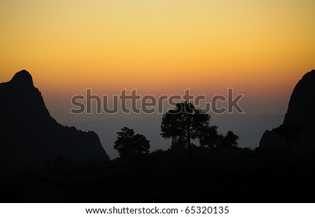 The Window overlook at sunset from the Chisos Mountain Basin - stock photo