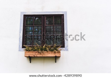 the window with the tray of flowers on a light wall - stock photo