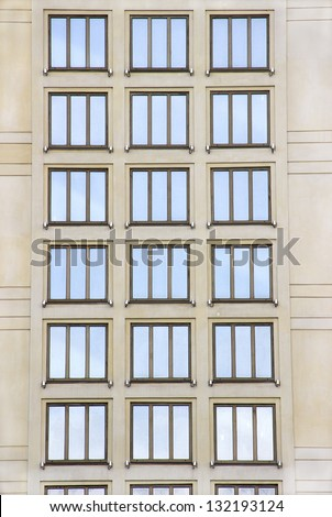 The windows at the modern building facade