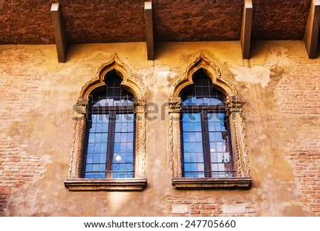 The windows of Juliet's house in Verona, Italy - stock photo