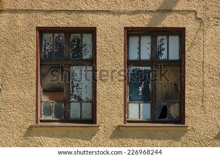 The windows of the old house. Background