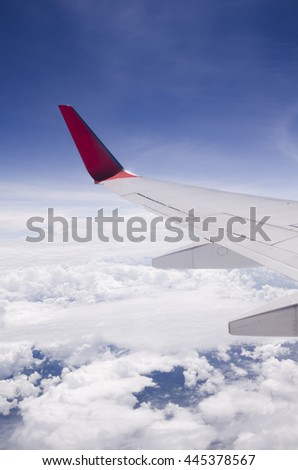 The wing of a plane flying over the sky.