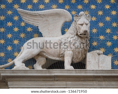 Winged Lion St Mark Symbol City Stock Photo Royalty Free 136671950