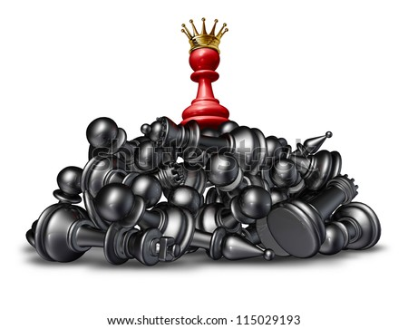The winner and the victor success concept with a red chess pawn wearing a gold crown on top of a mountain of defeated competitors that are lying down against a white background.