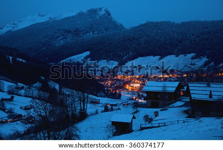 The winter Alpine landscape in the night