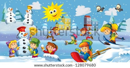 The winter fun kids - illustration for the children - stock photo
