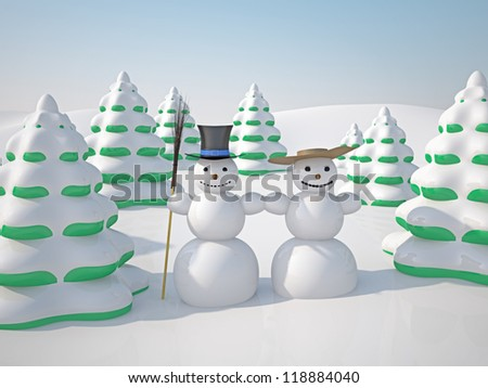 The winter landscape with trees and snowman - stock photo
