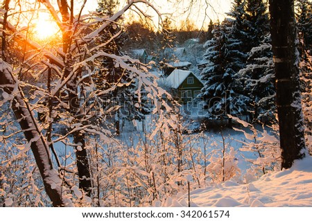 The winter village at sunset. Hoarfrost on branches macro. Rime on trees. Frost and snow on the branches. Winter nature. Winter rural landscape. New year's fairy tale. Wooden house in snow. - stock photo