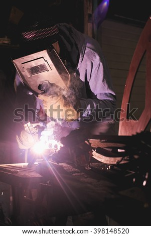 The wizard performs welding works
