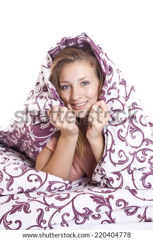 The woman closed the blanket trying to sleep, insomnia topic - stock photo