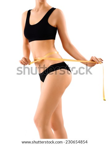 The woman's body on white background - stock photo