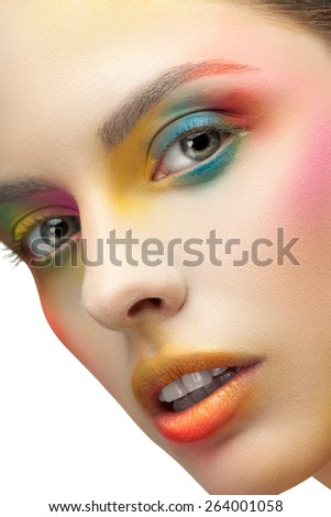 The woman's face with warm makeup close-up - stock photo
