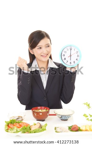 The woman who eats food  - stock photo