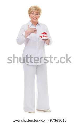 The woman with astonishment rejoices to a gift,  isolated against white background