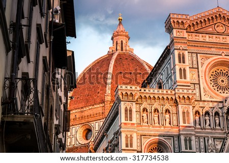 The wonderful architecture of the main Cathedral in Florence, Italy - stock photo