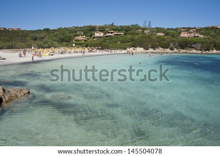 The wonderful colors of the sea in cala granu, a bay near Porto Cervo in Costa Smeralda - stock photo