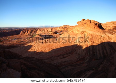 The wonderful desert views near Page Arizona, with perfect blue sky over the red sand stones.