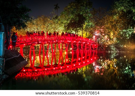 The wonderful Red Bridge on the Hoan Kiem lake in Hanoi, Vietnam