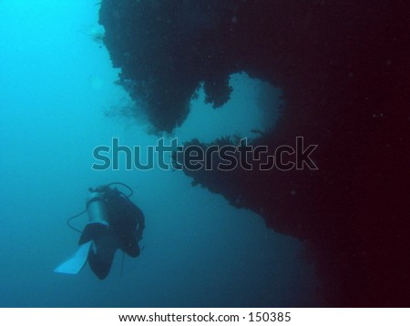 The wonderful sport of SCUBA diving - stock photo