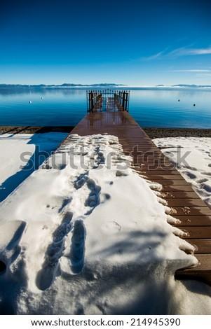The Wood bridge at Lake Tahoe - stock photo