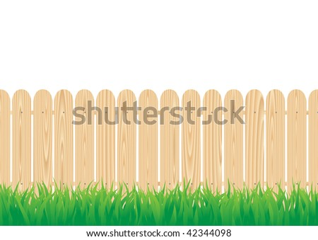 The wood circle fence and the green grass