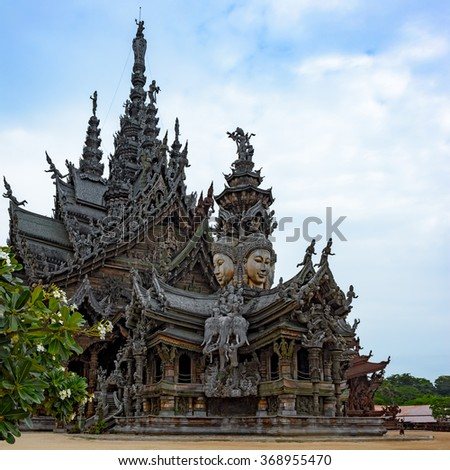 The Wood Sanctuary of Truth in Pattaya, Chonburi, Thailand.