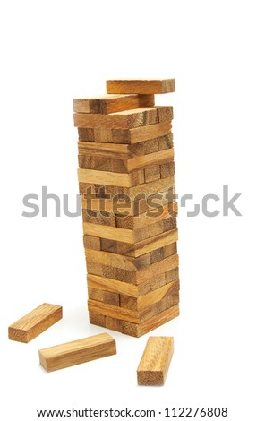 The wood tower blocks collapsed on white background , Abstract meaning business failure - stock photo