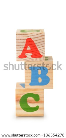 The wooden alphabet blocks isolated on a white background - stock photo