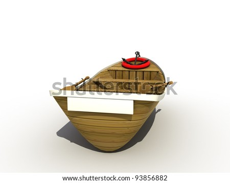 The wooden boat on a white background ?2 - stock photo