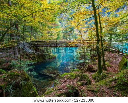 The wooden bridge ar Blausee/ Blue Lake in early autumn, Kandersteg, Switzerland.